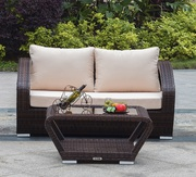 Mega Sale Patio Wicker Loveseat with Coffee Table