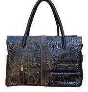 Croc Embossed Argentine Leather Satchel Handbag For $95