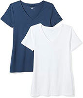Women's 2-Pack Classic-Fit Short-Sleeve V-Neck T-Shi